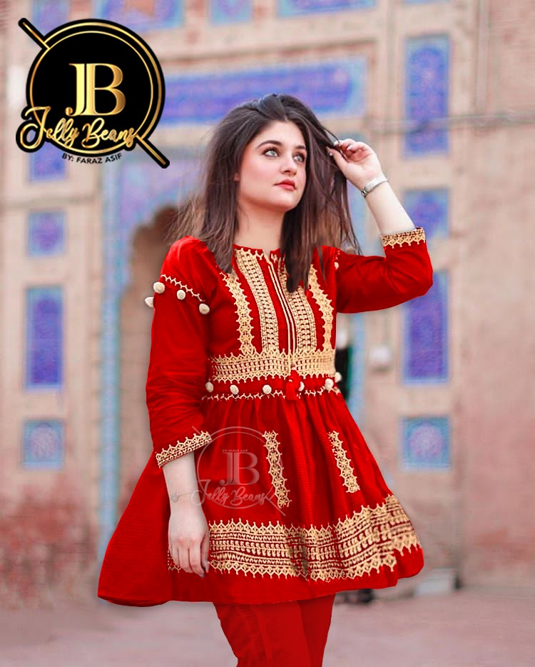 MIB Stylish two piece stitched suit / Heavy Embroidery Shirt / for Women and Girls / Latest Designer / 2 Piece Suit / Stitched Suit / Kurti and Trouser