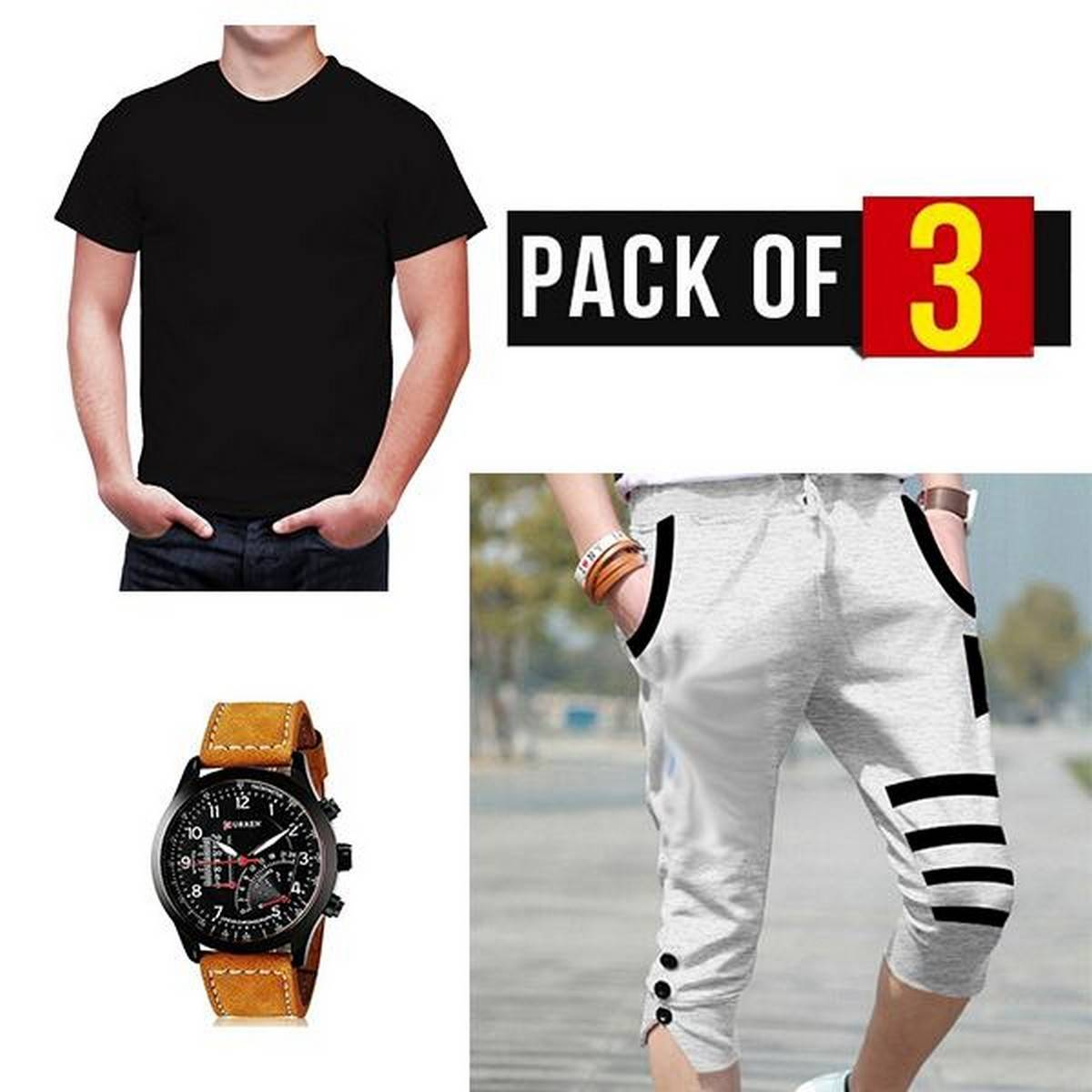 Pack of 3 Shorts T Shirt and Watch For Men