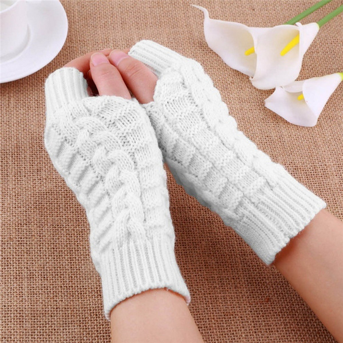 Women Knitted Arm Fingerless Winter Gloves Warmth Long Stretchy Mittens