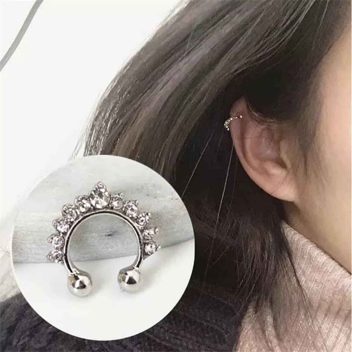 Women Fashion Crystal Fake Hoop Ear Cuff Nose Ring Punk Nose Clip Girl Earrings Body Piercing Jewelry for Party Earcuff - 01 Pc