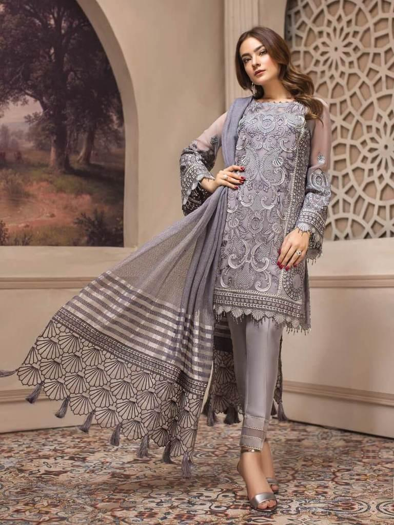 a822f7daf0 Jazmin Luxury Chiffon Eid Collection 2019 3PC Embroidered Suit Afshaneh  clothes girls and women