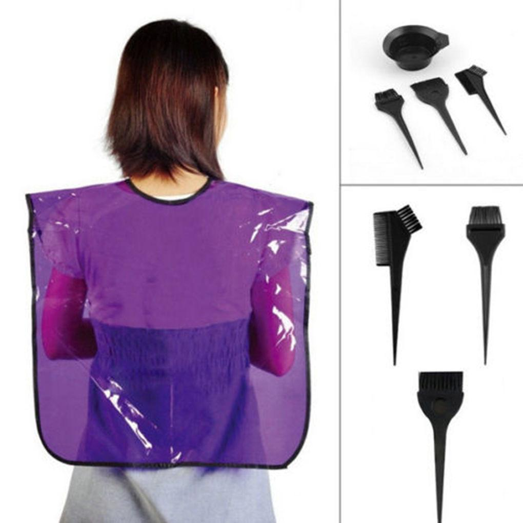 Hair Coloring Bowl Brush Kit, 4pcs Professional Black Plastic Dyeing Bowl and brushes (Black)
