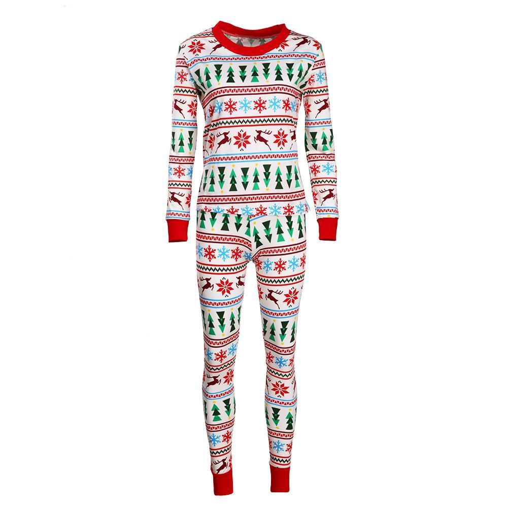 2pcs Christmas Family Matching Pajamas Set Digital Print Mom's Clothes
