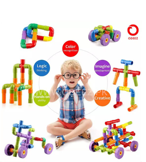 Toys Factory Children Safe Building Blocks Pipe & Wheels Plastic Puzzles Educational Learning Toys