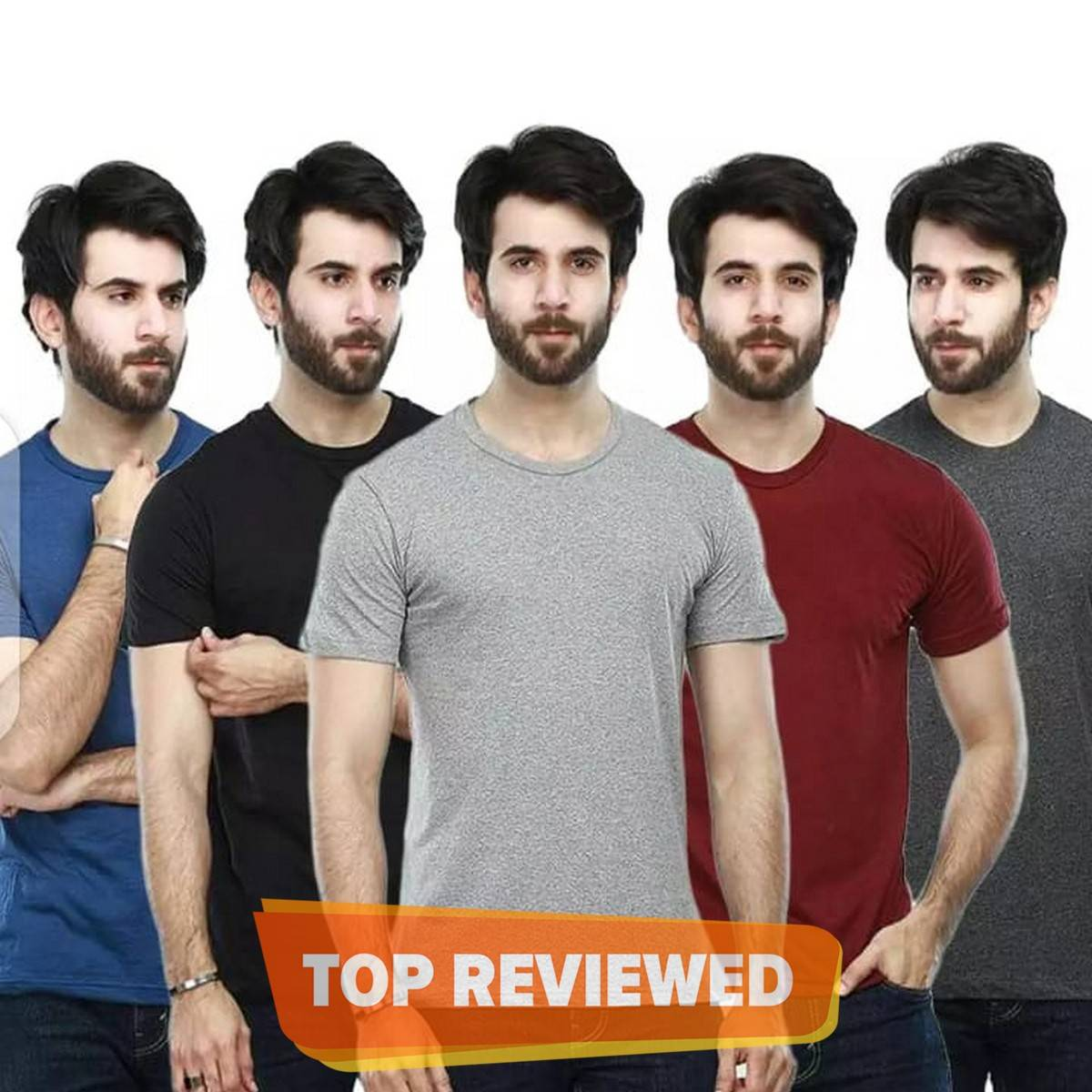 Pack of 5 plain half sleeves T shirts