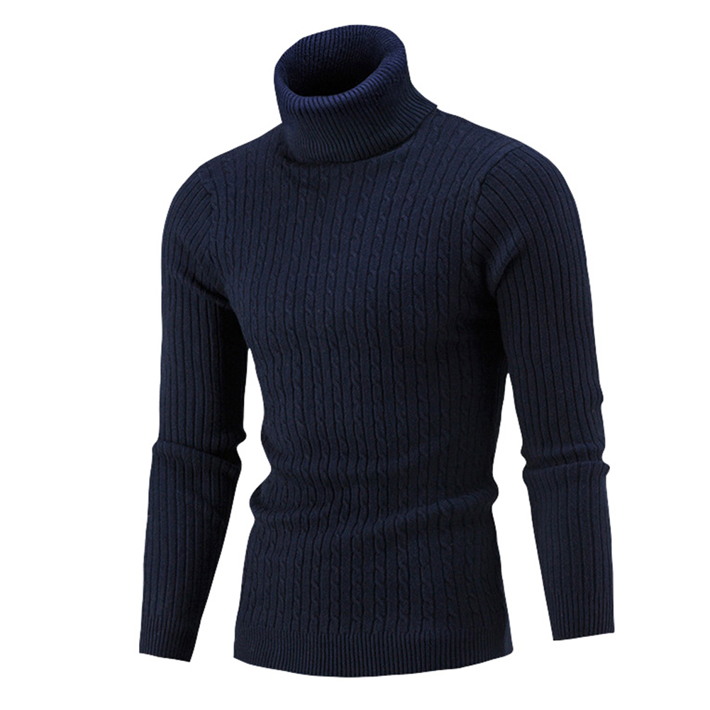 Skymountain Casual Men Autumn Solid Color Turtle Neck Ribbed Twist Sweater Bottoming Shirt
