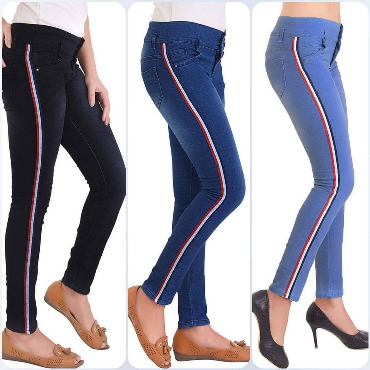 AW pack of 3 Jeans Cover Girl Striped Skinny Jeans for Women