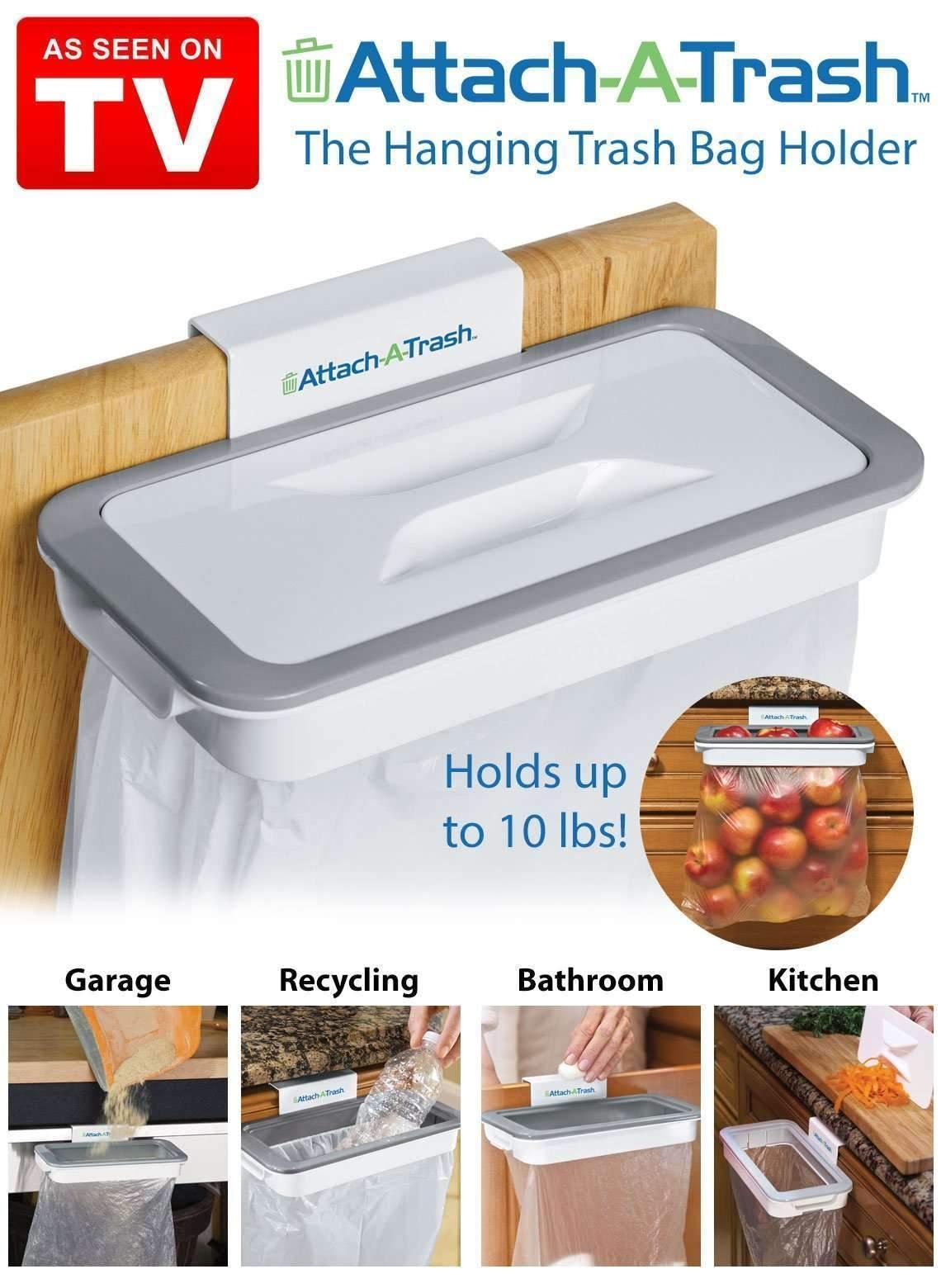 Attach A Trash - Hanging Trash Bag Holder, Waste Bin,Kitchen Cabinet Garbage Dustbin Bag Holder