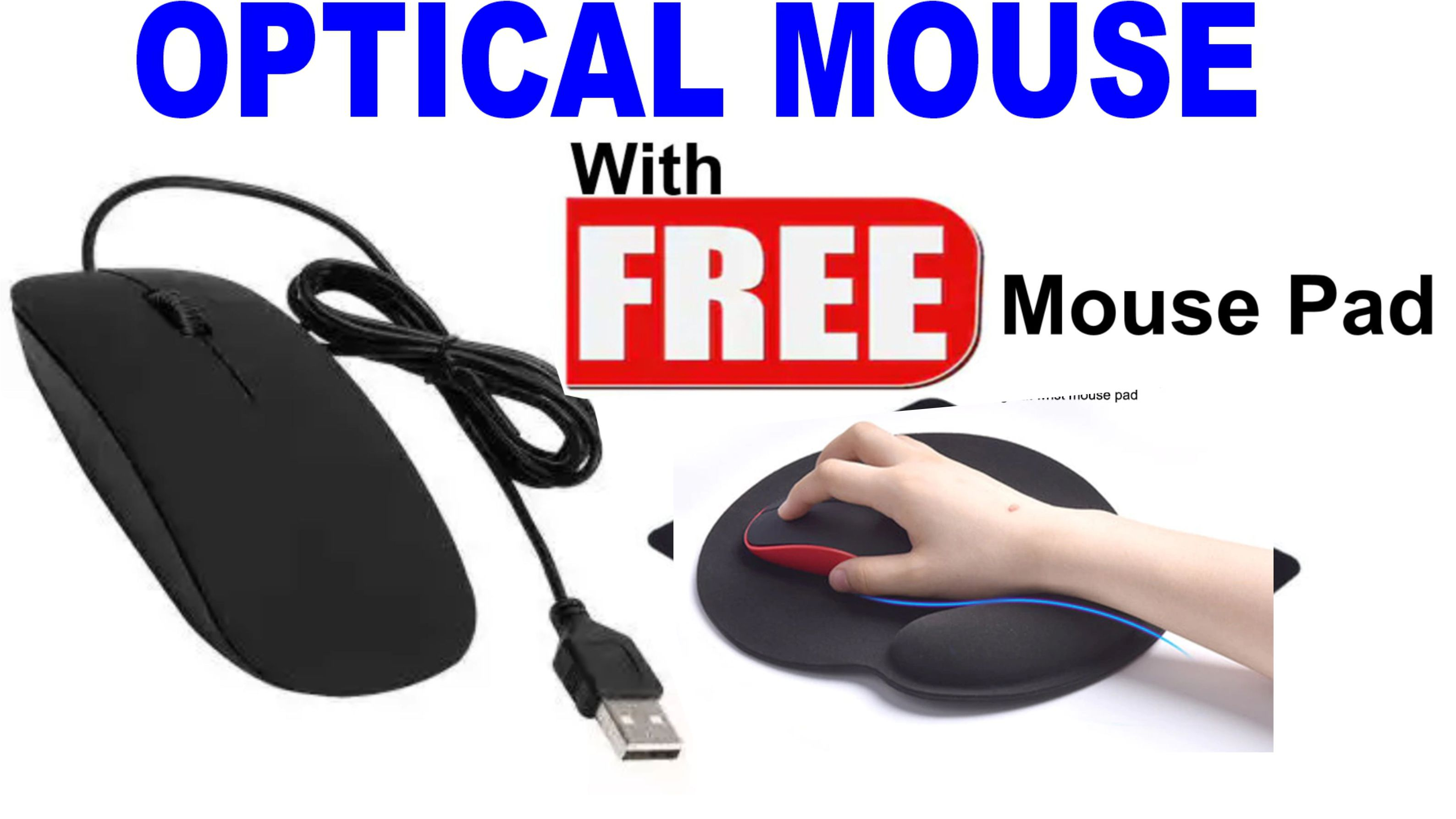 Optical Mouse with Free Mouse Pad for Computer Laptop Mobile LED TV and DVR