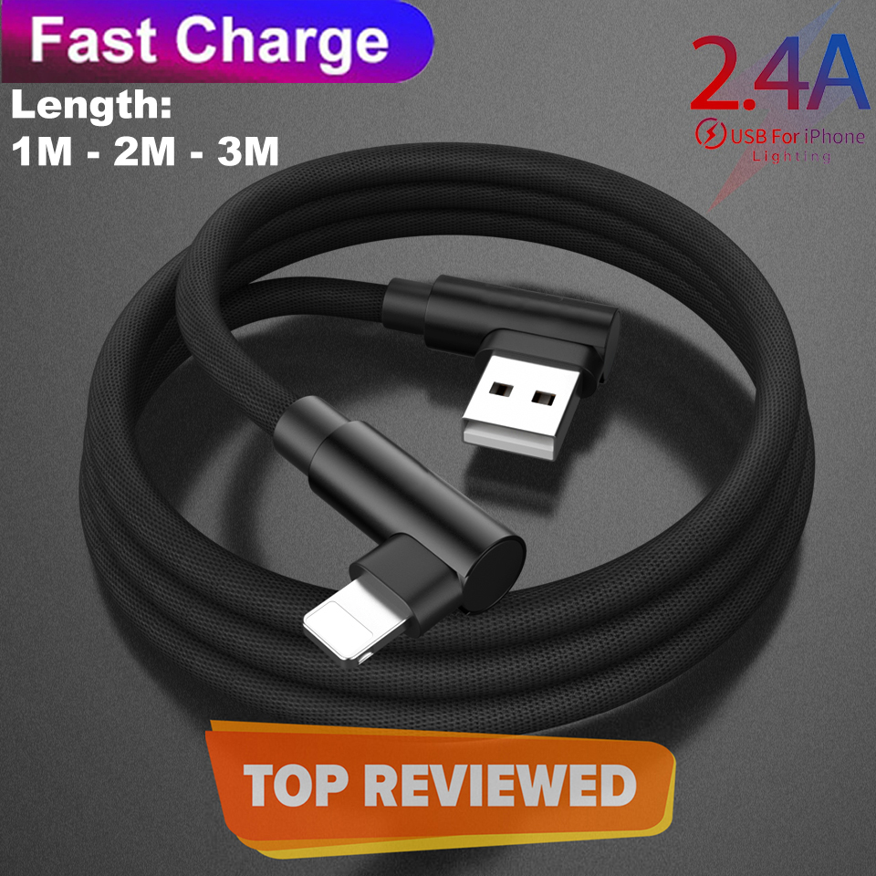 1/2/3 Meter Lightning Fast Charging + Data Cable  (Braided - L Shape - 90 Degree - Elbow - For Gaming And Use While Charging Comfortable Cable) For Iphone - Black