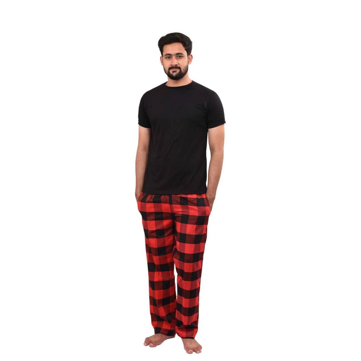 Men's New Pyjamas Set, Checked Pyjamas for Men, Men's Pj's Cotton Short Sleeves Round Neck T-Shirts, Woven Men's Pyjamas. NEW Men's CHECK Print Pyjama Set, Lounge Wear, Short Sleeve T Shirt Top, Night Wear. ~ Black 1