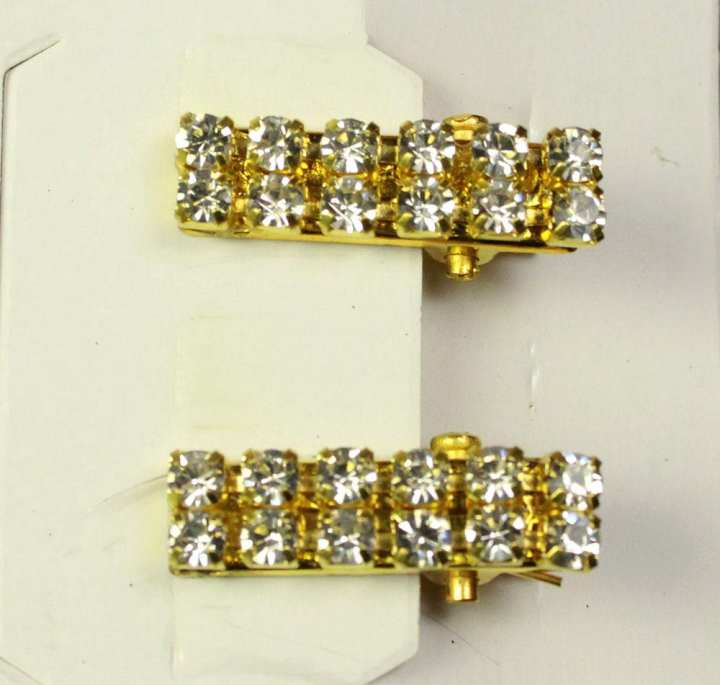 Pack Of 2 - Small Golden Brooch clip Pin With Stone