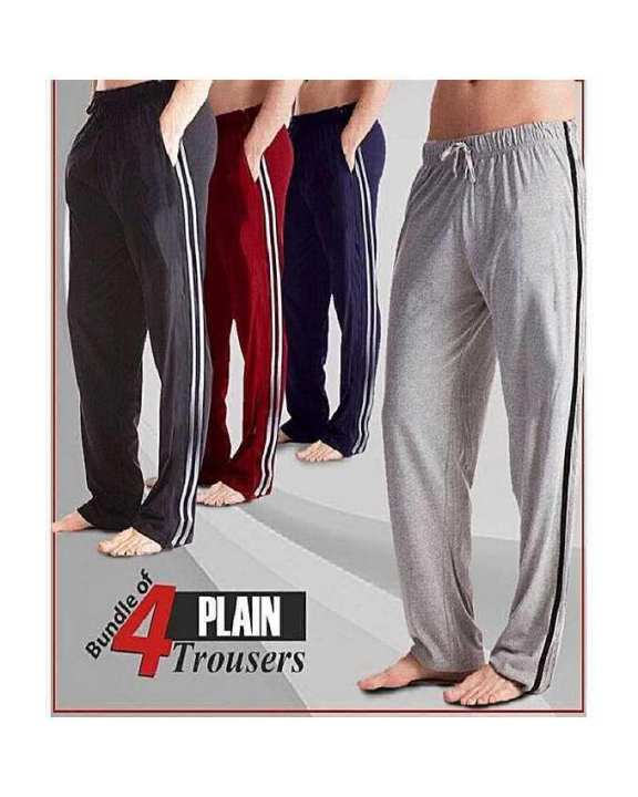 Pack of-4 Multicolor Plain Nightwear Trousers For Men