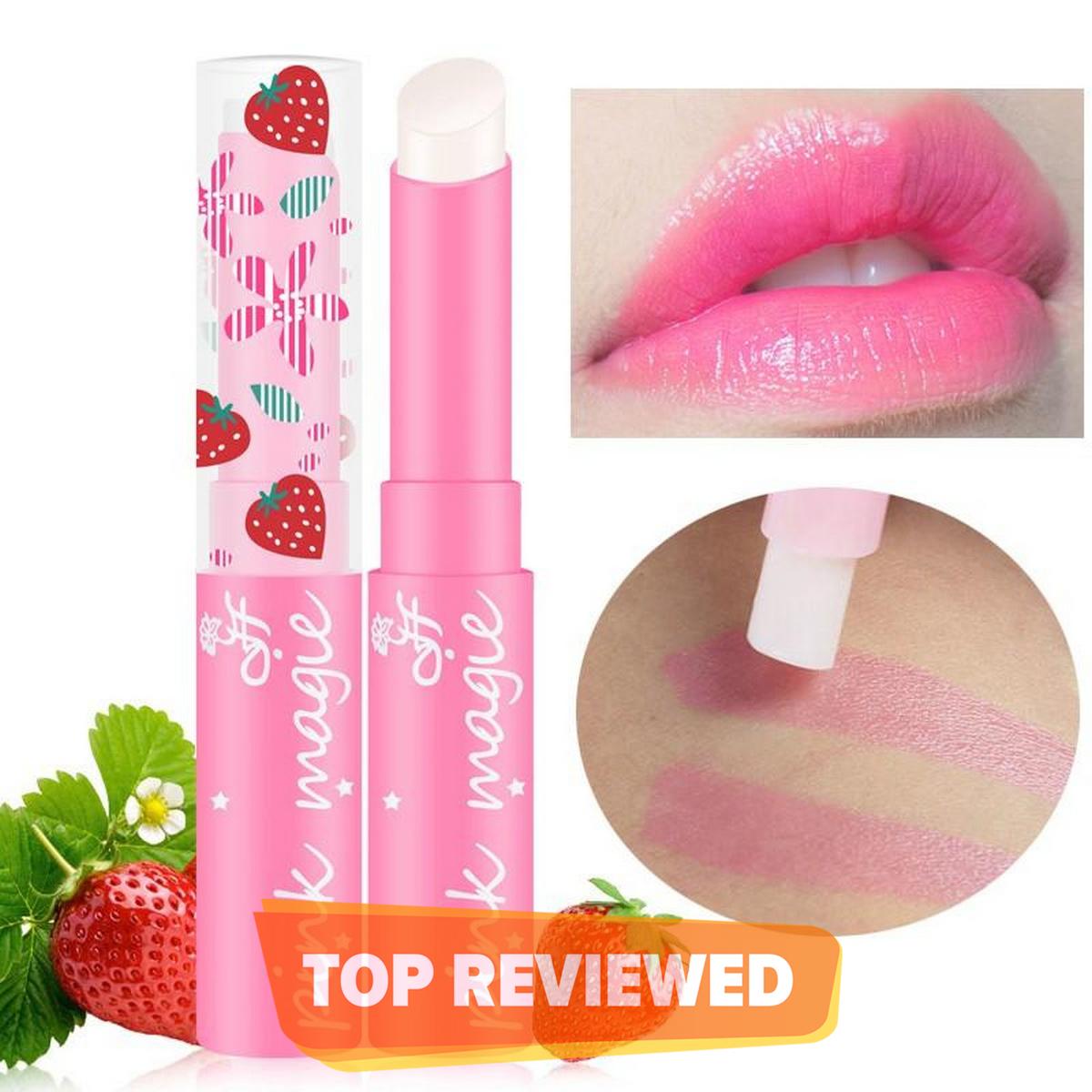 Strawberry Pink Lipstick Color Mood Changing Long Lasting Moisturizing Lip Stick