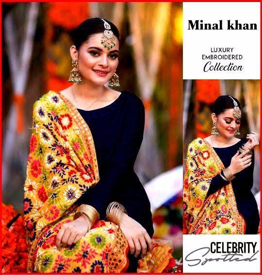 Khawateen Corner 1 Minal Khan Beauty Black Dress Women