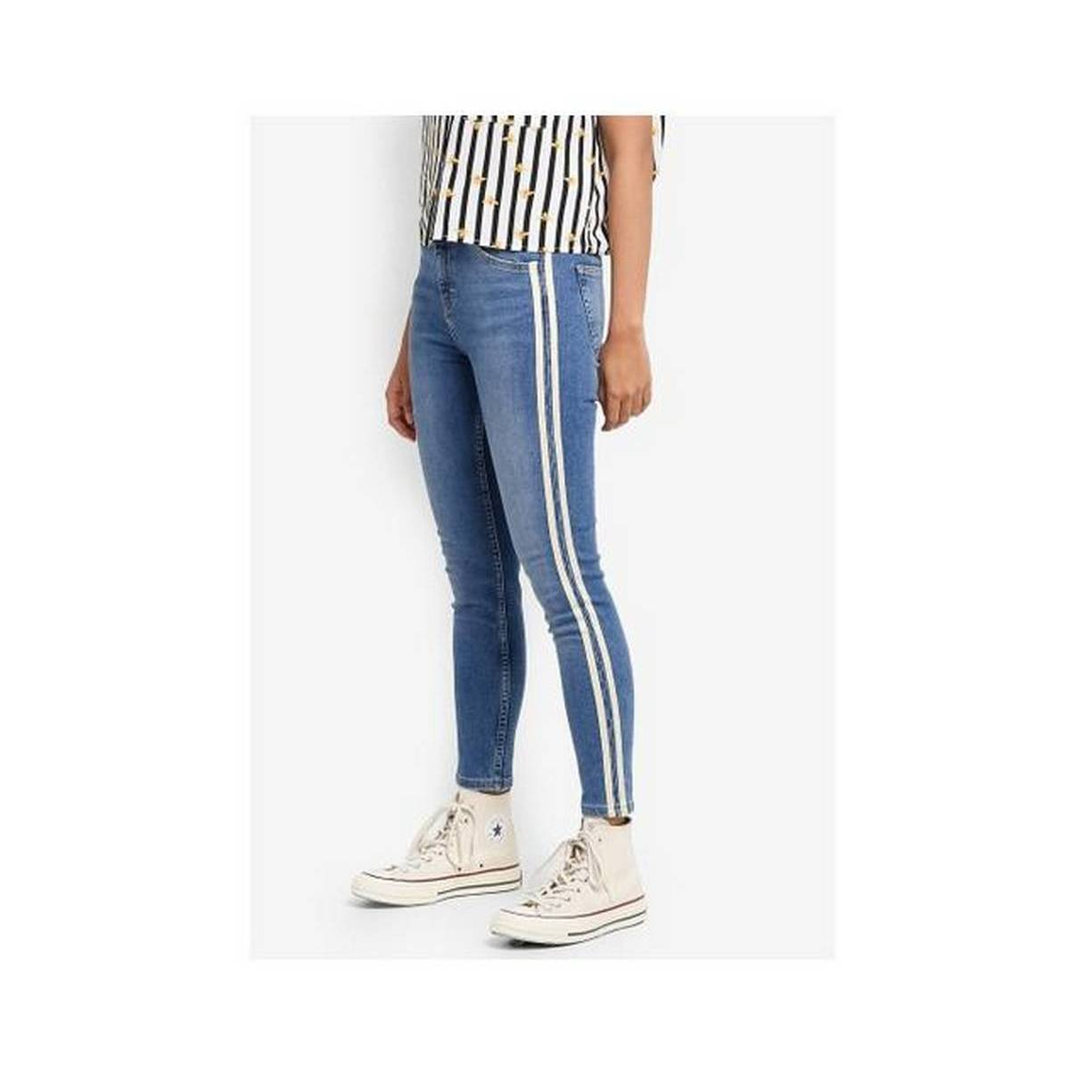 ice Blue Stripe Style Jeans For Girls and women