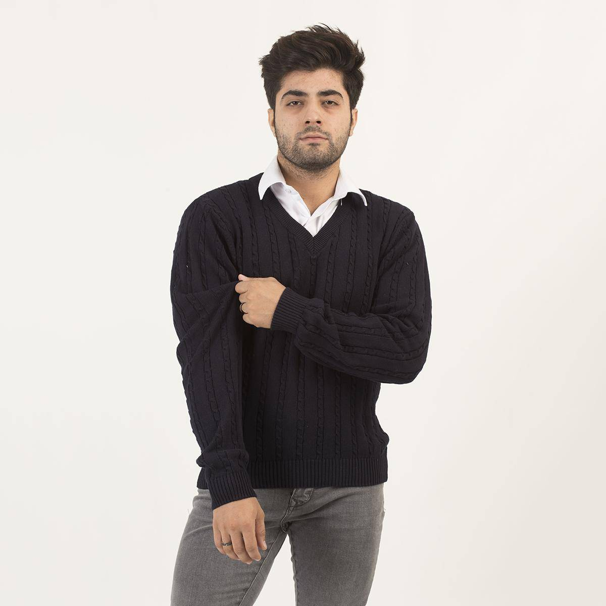 Oxford N-Neck Cable Knit Sweater For Men