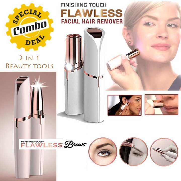 Combo Beauty Flawless Finishing Touch Facial Hair Remover and Flawless Brows Finishing Touch Eyebrows Styler- Electric Hair Remover Mini Epilator