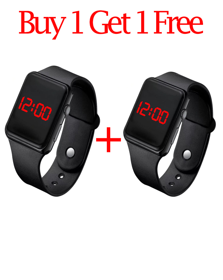 Pack of 2 - Apple Style Fitness Band Led Time & Date Band Watch For Boys & Girls - Best Quality Square Digital Sports Watch For Men & Women - Rose Gold