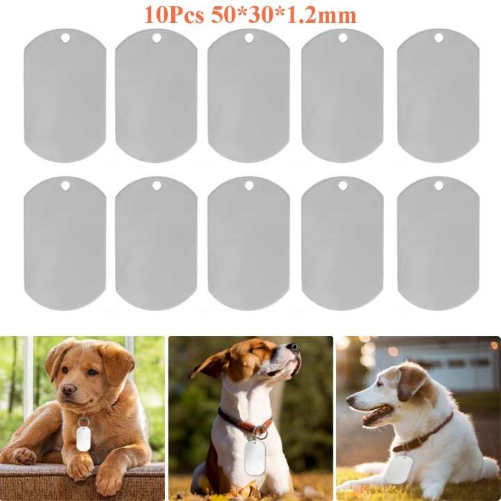 "10X Stainless Steel Blank Silver Gloss Engravable Dog ID Tag Pendants 1.2""x2"""