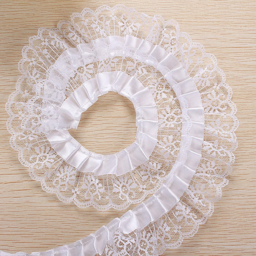 5 Yards Pleated Organza Lace Edge Trim Gathered Mesh Ribbon Wedding Sewing DIY