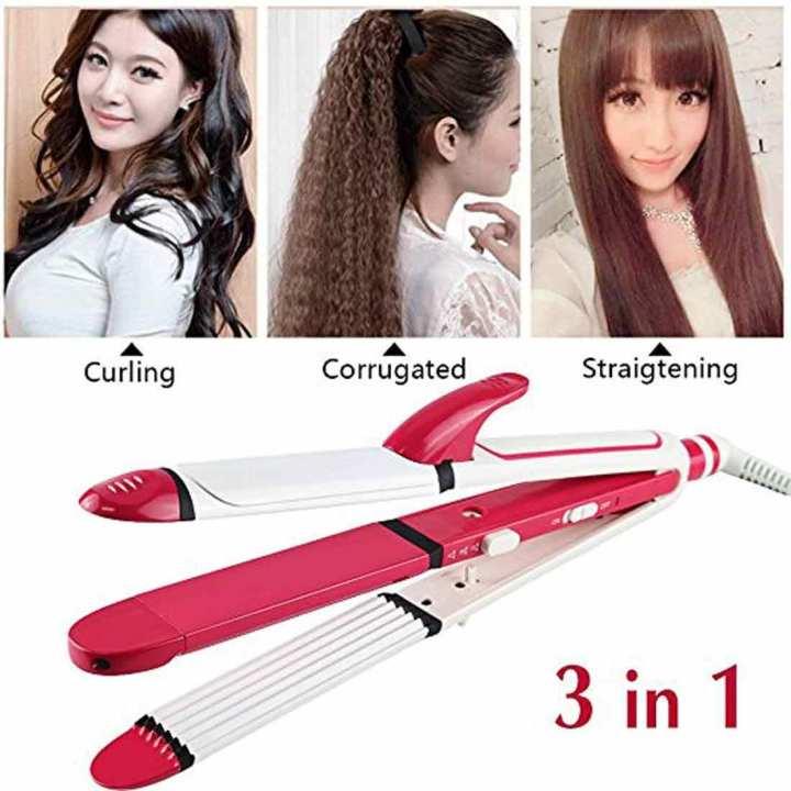 Original Shinon 3 In 1 Professional Hair Straightener Plus Curler And Corrugated Iron