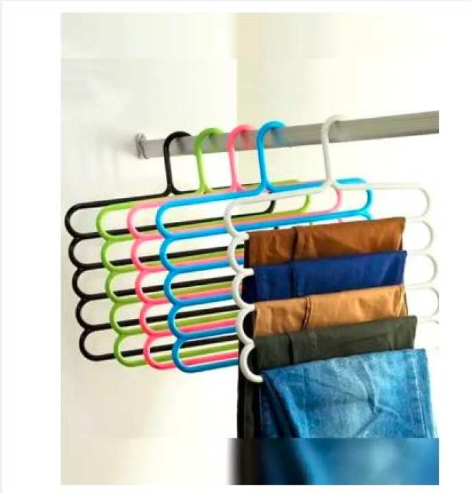 Pack Of 5 (5 Bar Trouser Hanger Rack) - Hold 5 Pairs Of Trousers - Ties Scarves Belts Towel Hangers