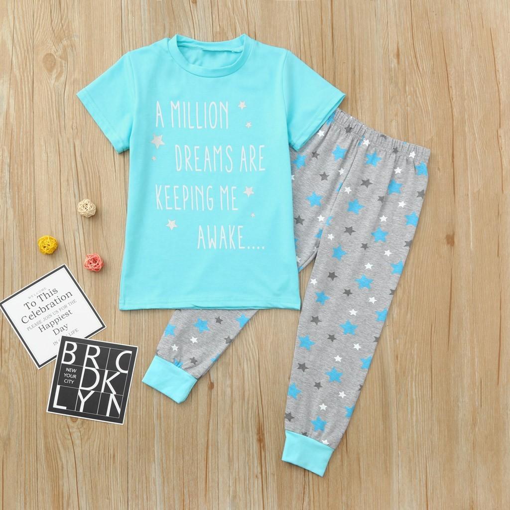 399efb8bb2d BlingBlingStar Children Kids Girls Letter Stars Print Tops T-shirt+Pants  Pajamas Set Outfit