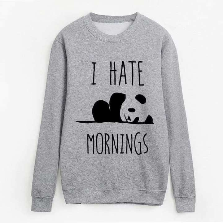 I Hate Morning Printed Cotton Sweat Shirt For Woman