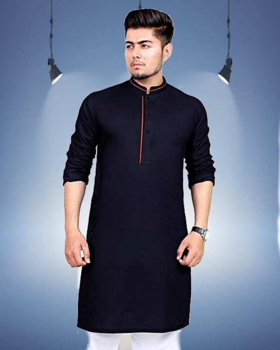 Black Mix Cotton Kurta With White Shalwar