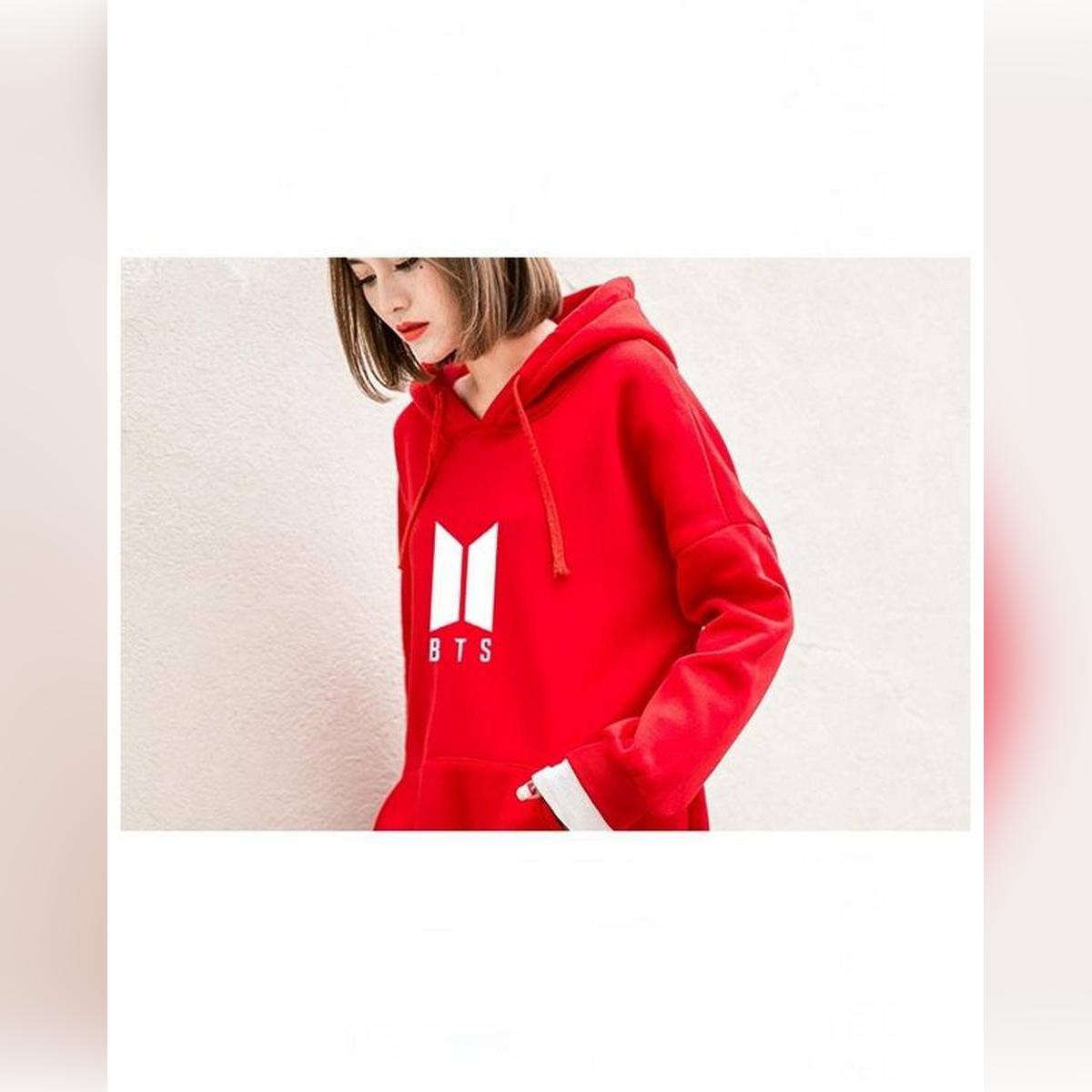 Red Fleece BTS Hoodies For Women