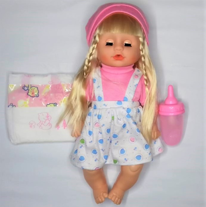 Baby doll with long hair that drinks and does washroom comes with a pamper