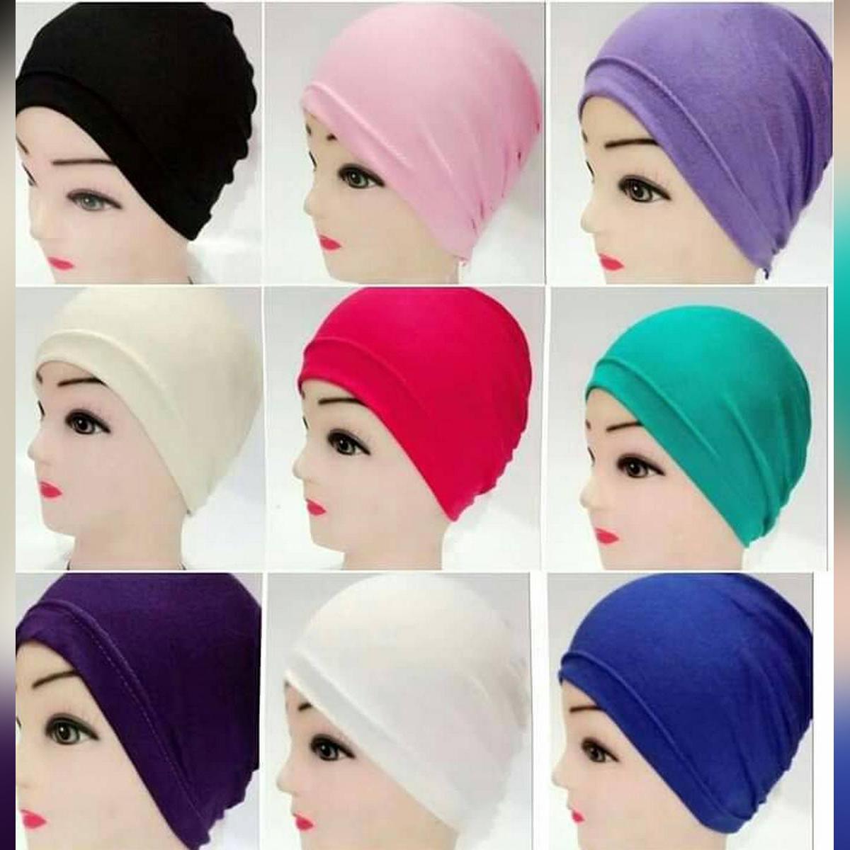 Pack of 3 Plain Muslim Headscarf Inner Hijab Caps Wraps Women Islamic Under Scarf Ninja Scarf Stretch Cotton Bonnet Caps