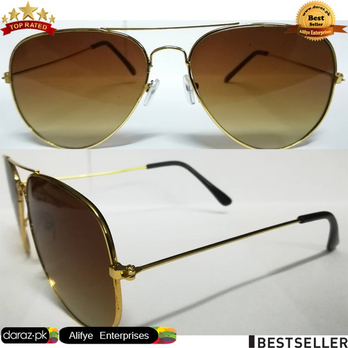 Night Vision Glasses Aviator Style Shape Double Shade Day Night Glasses Mens Women Sunglasses - Brown Golden