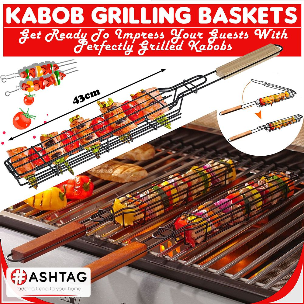 BBQ Grilling Basket Roast Chicken Meat Fish BAR-B-Q Grilling Basket - Non-Stick Stainless Steel BBQ Grill Baskets With Wood Handle - Grill Fish, Vegetable, Onion, Chicken and Meat for Outdoor Camping Picnic BBQ Tools & Kitchen Accessories