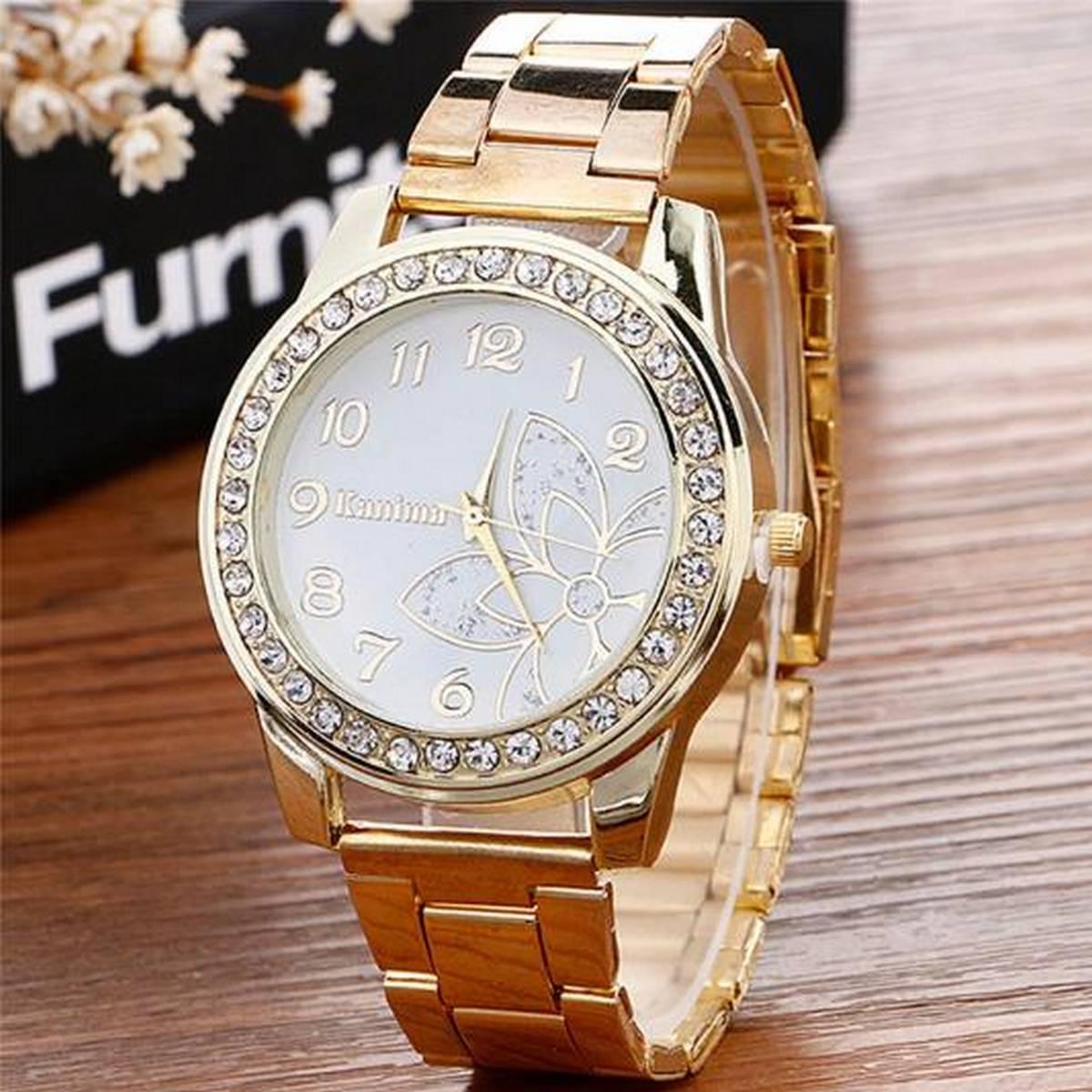 Luxury Diamond Stainless Steel Sport Quartz Wrist Hour Dial Watch Ladies Watch