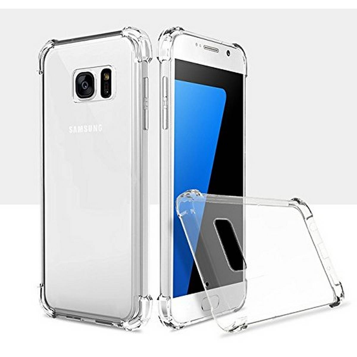 Samsung Galaxy S7 Edge Airbag Case Anti Shock and Anti-Scratch Resistant Clear View Transparent Silicone Back Cover