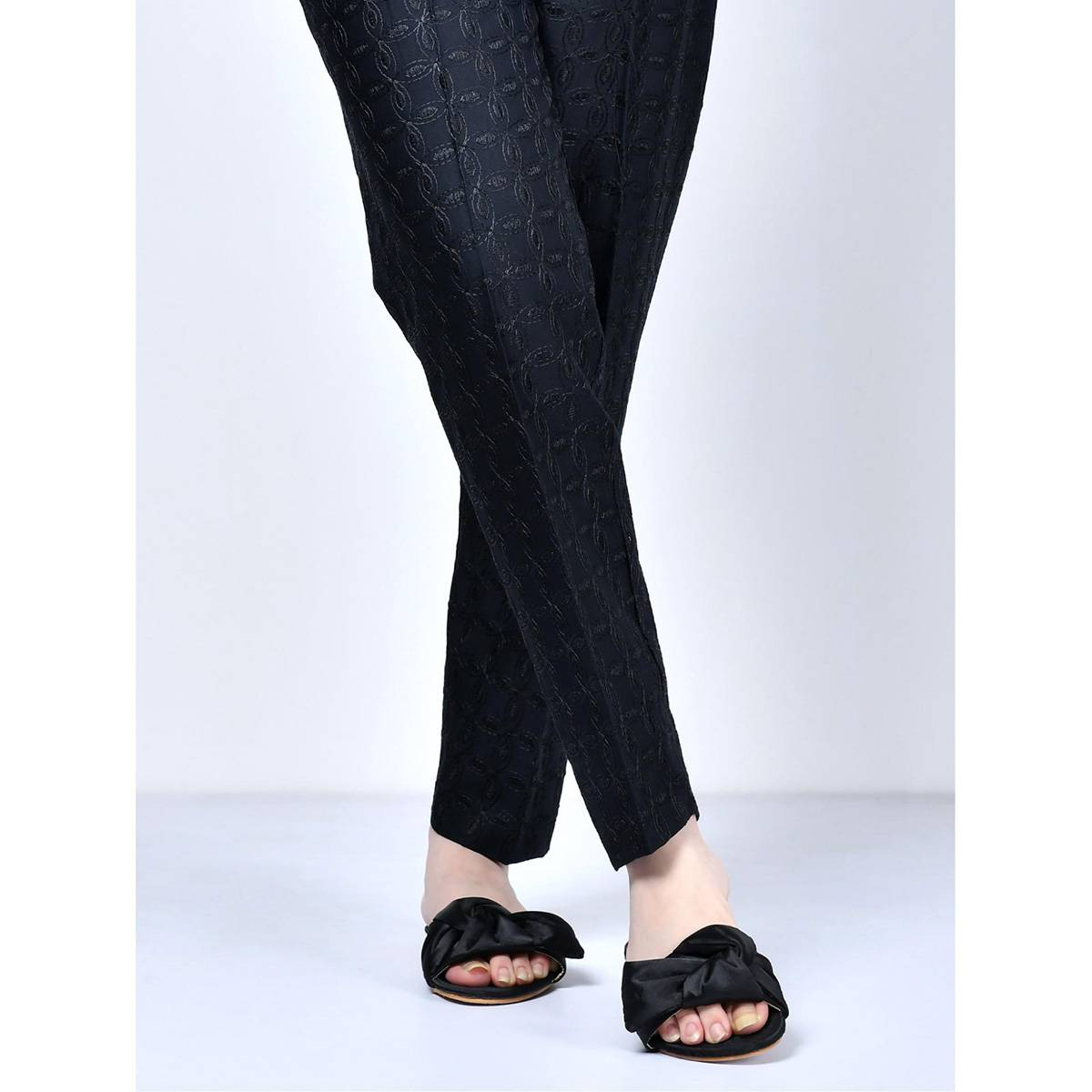 LimeLight Stitched Black Embroidered Crepe Trouser For Women P2485-LRN-BLK