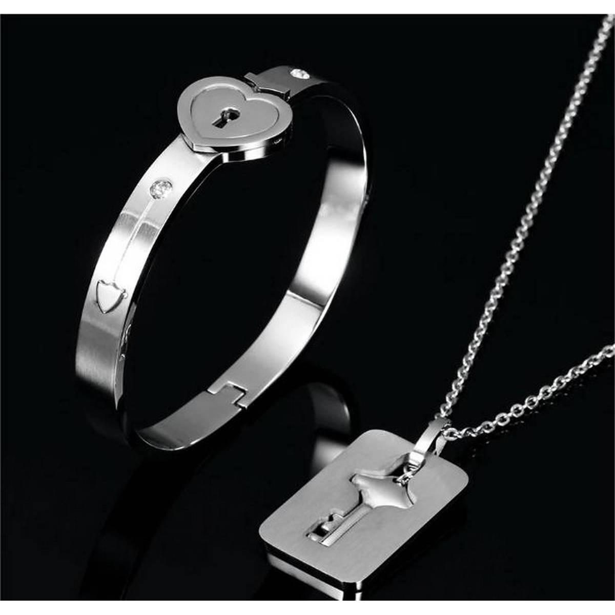 True Love Heart Lock Bracelets Bangles Key Pendant Necklace Couples