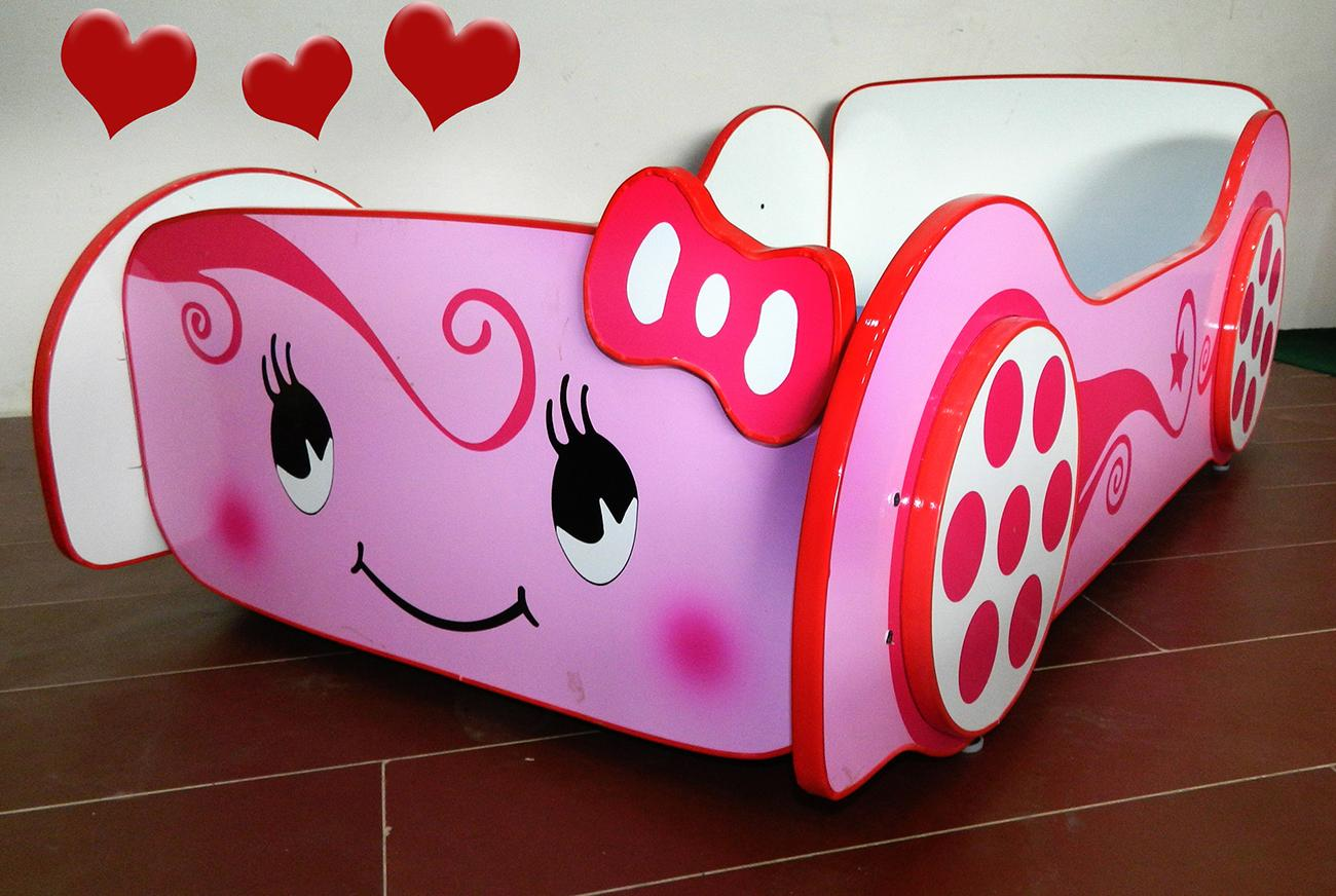 Baby Cot Kitty Car Bed for Girls Kids Furniture Without Mattress