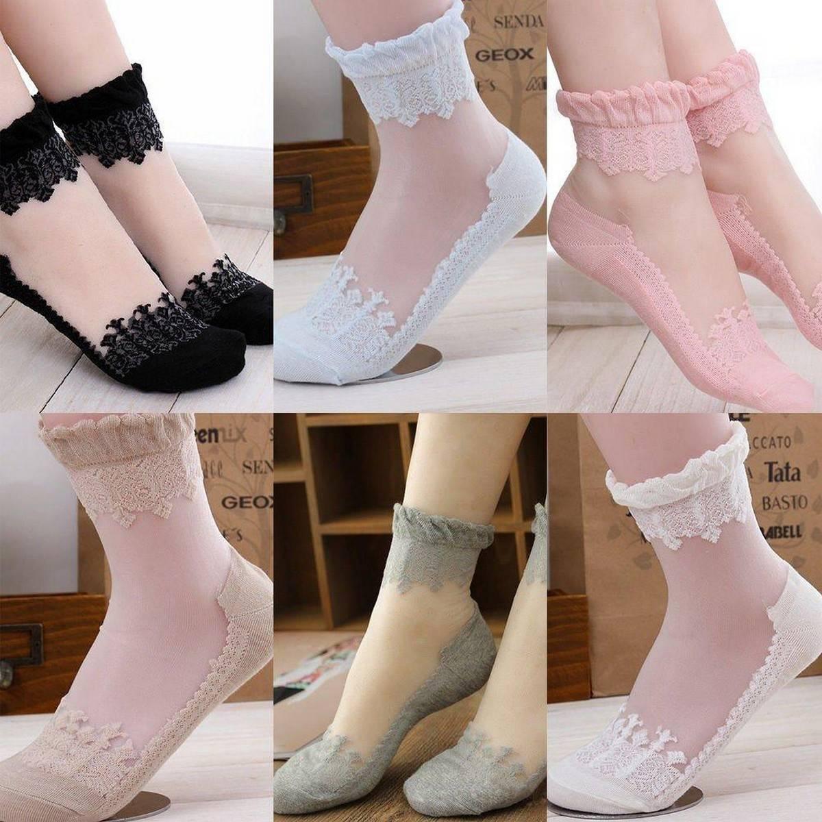 [Lovely Design] Women''s Ultrathin Transparent Beautiful Crystal Silk Lace Elastic Short Socks 4 Pair - Order Now !