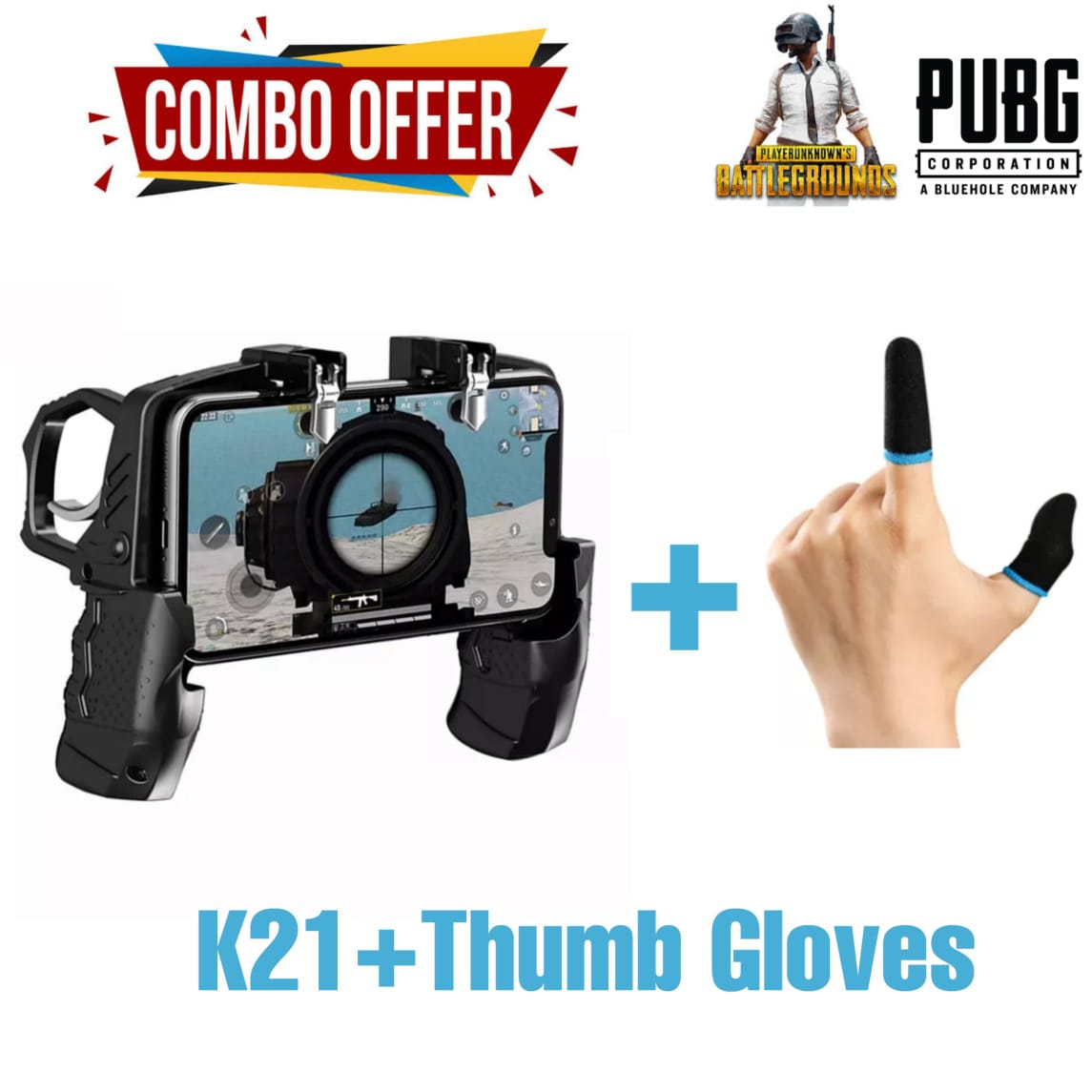 K21 Mobile Game Controller + Thumb Gloves for PUBG/Call of Duty/Fortnite for 4.7- 6.5 inch IOS & Android Phone Aim Trigger Fire Buttons L1R1 Shooter Sensitive Joystick - K21 Gamepad - Pubg Thumb Sleeves