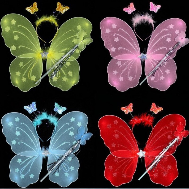 3Pcs/set Princess Kids Baby Girls Accessories Party Decoration Butterfly Wing Wand Headband Fairy Costume Festive Party Supplies