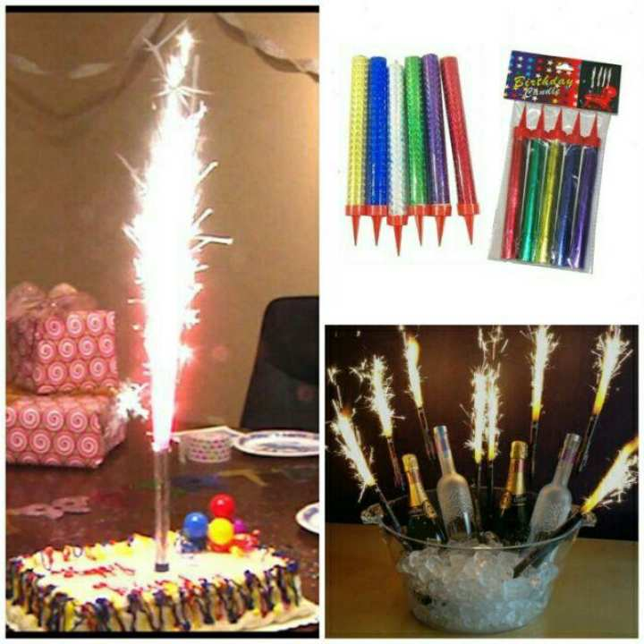 Party wedding Theme My Party Birthday Candles with Sparkling Fountain (Multicolor) -Pack of 12