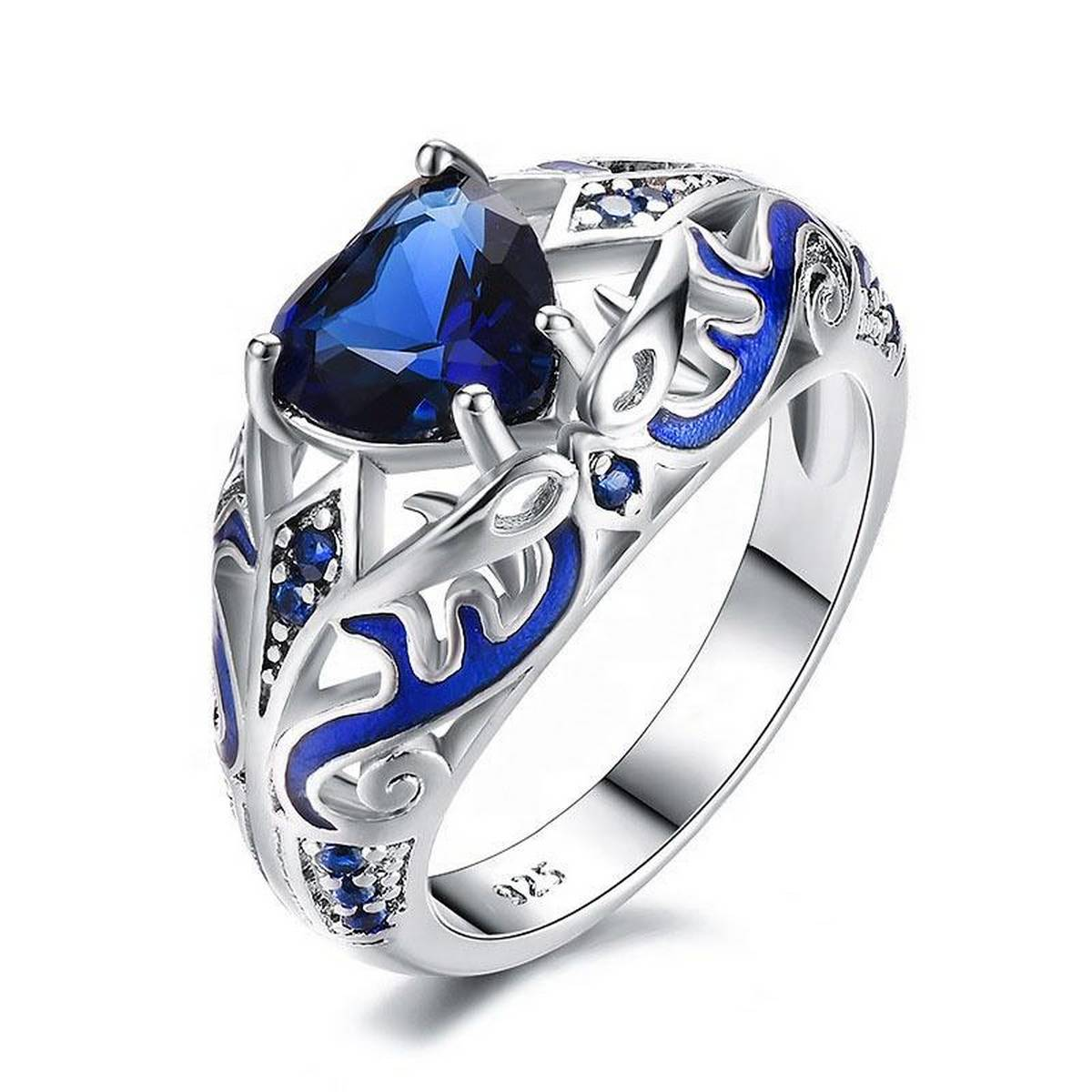 Fashion SS Engagement Party Collection Silver Plating Blue Love Diamond CZ Gem Topaz Rings for Girls & Women - RS0258