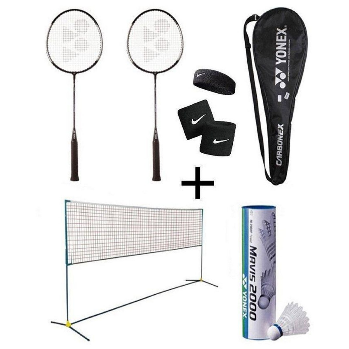 Pack of 12 - Badminton Set Multicolour pair of rackets and badminton net or shuttle 6 pcs hand or head grip