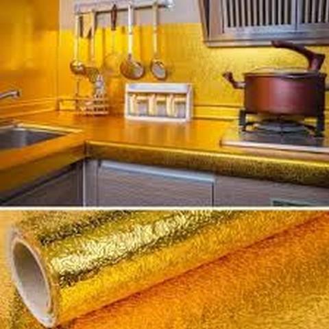 (30x100cm) Aluminium Foil Aluminium Foil Sticker Aluminium Foil Sheet Kitchen Waterproof Self-Adhesive Anti-Mold and Heat Resistant Oil Proof Aluminium Foil Paper Sticker Roll for Kitchen Wall, Drawers, Shelves and Furniture ( Golden )