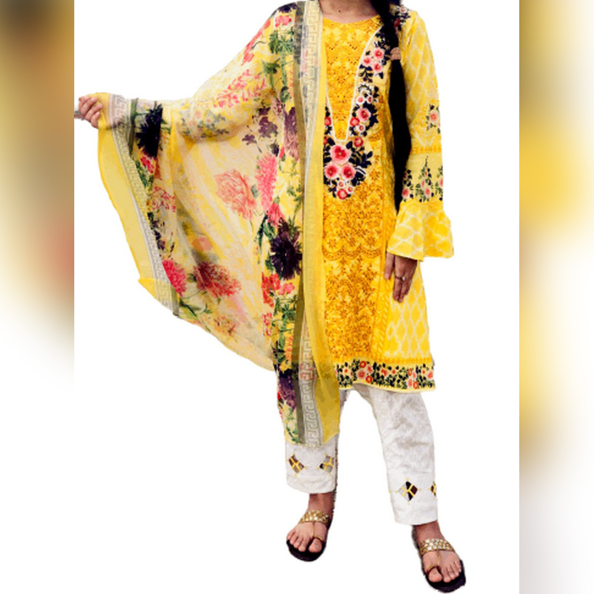 Bless Fabric, Pineapple – Women's Unstitched 3PC Embroidered and Printed Lawn Suit (Unstitched Lawn Suit for Women, Summer Collection 2021)