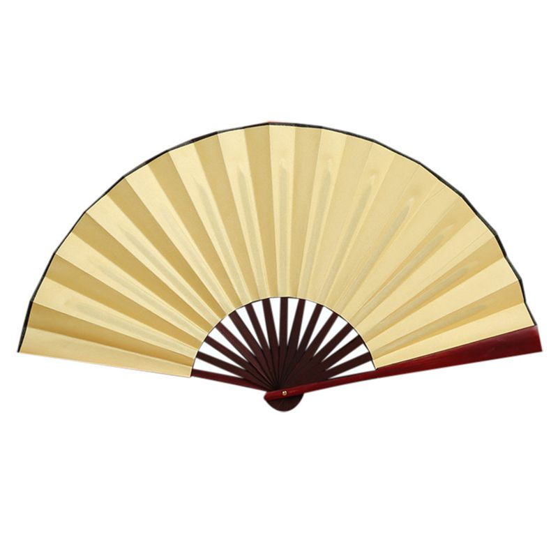 Folding Hand Fan Men's Black Bamboo Spun Silk Calligraphy Painting Writing  Dancing Chinese Held Fans Wedding Party Favor(Yellow): Buy Online at Best  Prices in Pakistan   Daraz.pk
