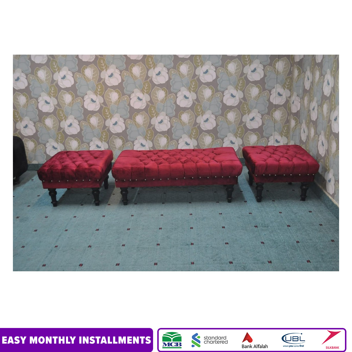 Galaxy 4 Seater Puffy Set Fabric Maroon Valvid (Size 2 unit single seat 22x22 inches and 1 unit large 2 seater 44x22 complete set height 17 inches)